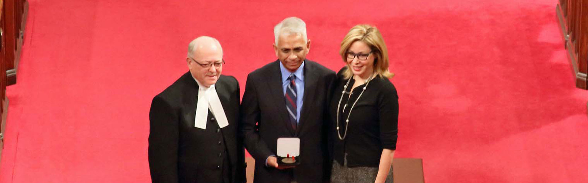 Professor Salim Mansur receiving Senate 150th Anniversary Medal