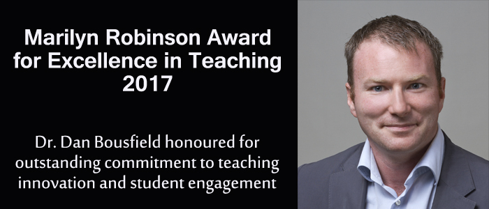 Dan Bousfield awarded 2017 Marilyn Robinson Award for Teaching